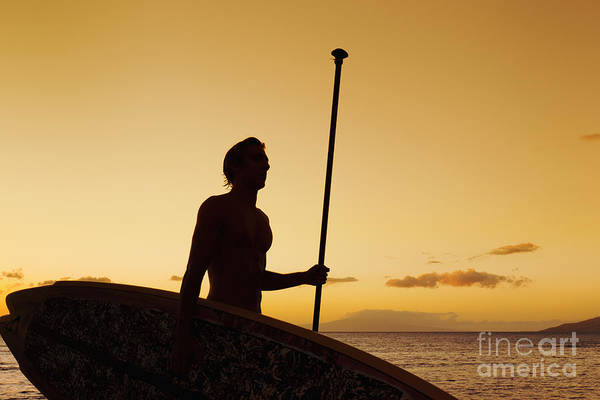 Wall Art - Photograph - Hawaii, Maui, Wailea, Silhouette Of Young Man With Stand Up Paddle Board At Sunset by MakenaStockMedia