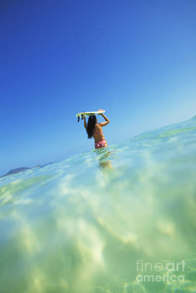 Wall Art - Photograph - Hawaii, Oahu, Lanikai Beach, Over_under View Of Woman Holding Surfboard On Head by Dana Edmunds