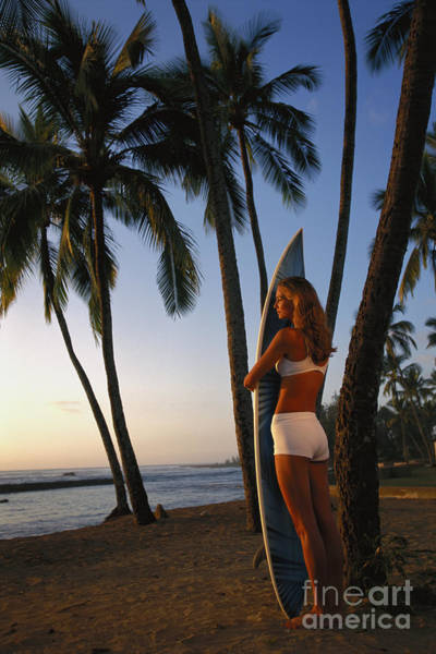 Wall Art - Photograph - Hawaii, Oahu, North Shore, Full Length View Woman With Surfboard Palms Golden Afternoon Light D1077 by Dana Edmunds