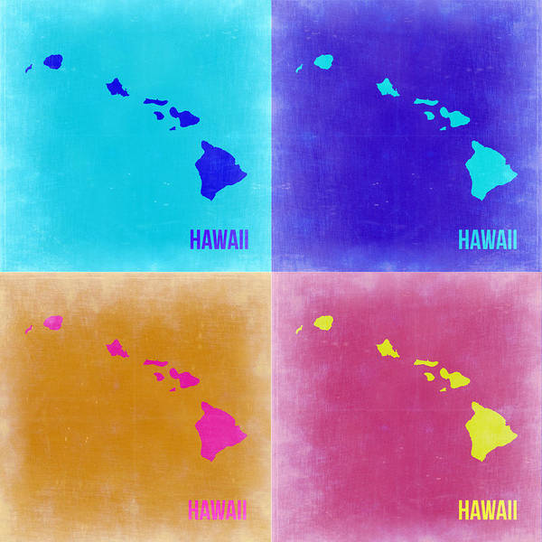 Wall Art - Painting - Hawaii Pop Art Map 2 by Naxart Studio