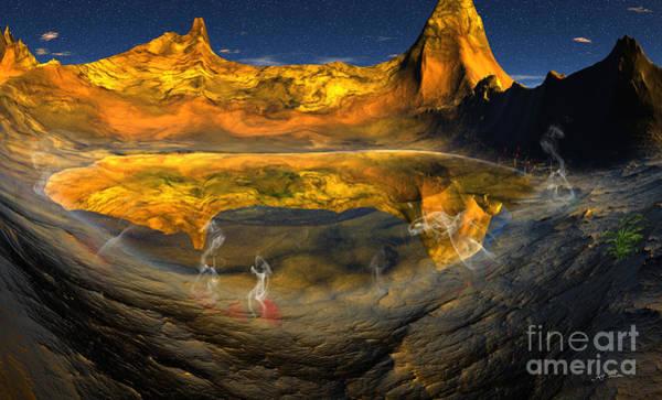 Wall Art - Digital Art - Hawaiian Volcano Lake Reflection by Heinz G Mielke