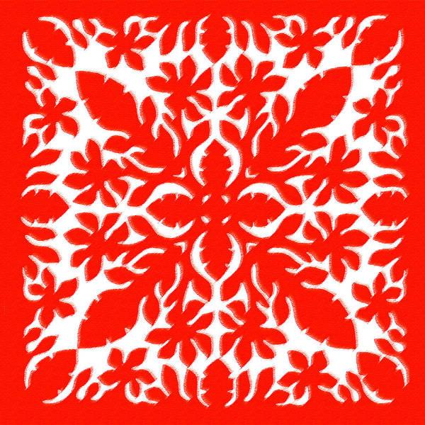 Quilt Digital Art - Hawaiian Hibiscus by James Temple