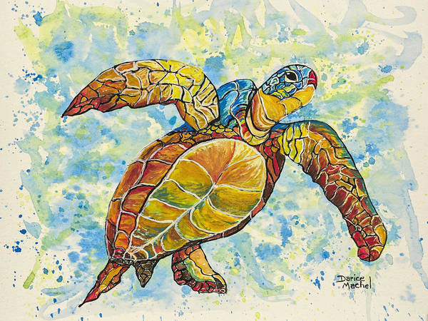 Painting - Hawaiian Sea Turtle 2 by Darice Machel McGuire