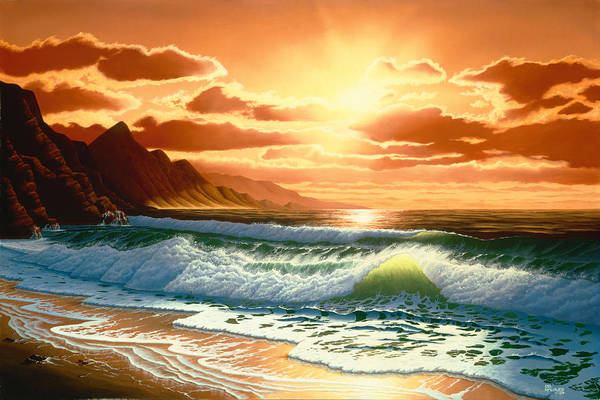 Ocean Scape Painting - Hawaiian Sunset by Del Malonee