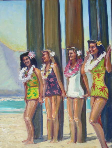 Surfing Wall Art - Painting - Hawaiian Surfer Girls by Michael Knowlton