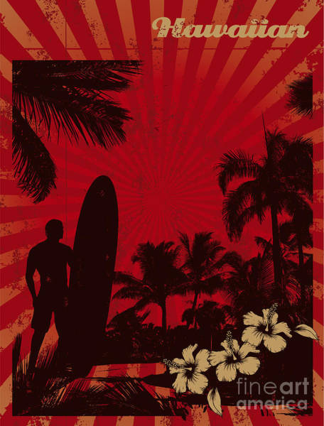 Wall Art - Digital Art - Hawaiian Vintage Surf Poster by Locote
