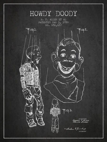 Puppet Wall Art - Digital Art - Hawdy Doody Patent From 1950 - Charcoal by Aged Pixel