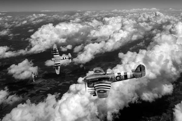 Photograph - Hawker Typhoons Diving Black And White Version by Gary Eason