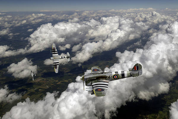 Photograph - Hawker Typhoons Diving by Gary Eason