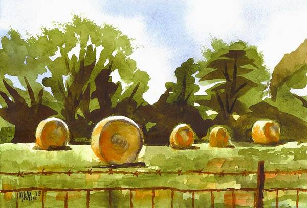 Painting - Hay Bales At Noontime  by Kip DeVore