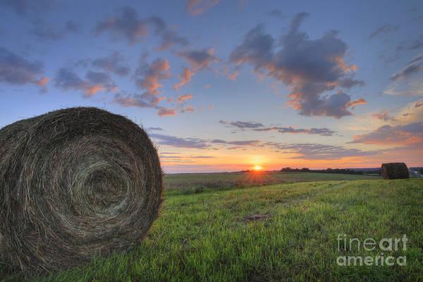 Hay Bale Wall Art - Photograph - Hay Bales At Sunrise by Dan Jurak