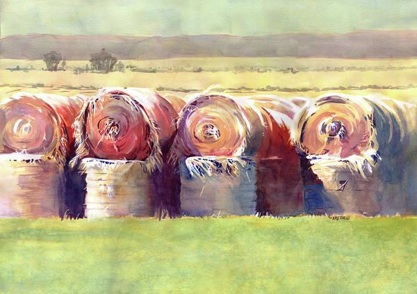 Haybale Wall Art - Painting - Hay Bales by Kris Parins