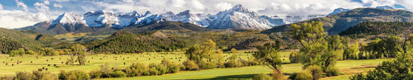 Ridgway Photograph - Hay Bales Under Mount Sneffels And San by Panoramic Images