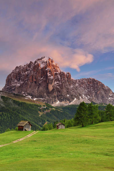 Barn Photograph - Hay Barn In Front Of Langkofel Range In by Andreas Strauss / Look-foto