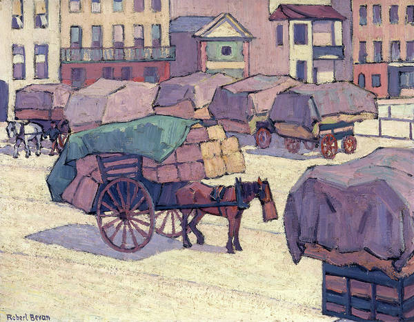 Oil Industry Painting - Hay Carts, Cumberland Market Signed, Lower Left Robert Bevan by Litz Collection