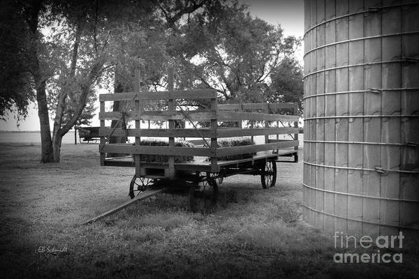 Photograph - Hay Rack By The Old Silo by E B Schmidt