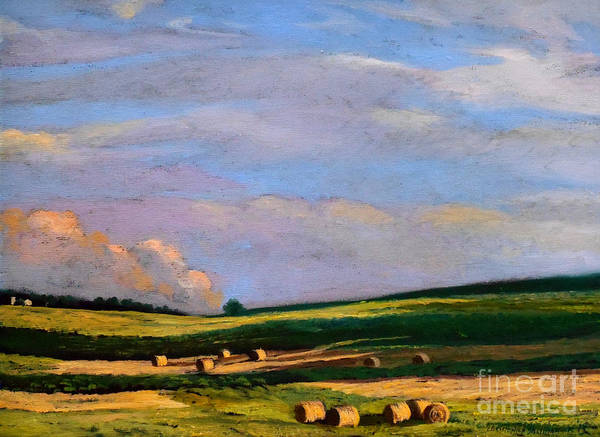 Painting - Hay Rolls On The Farm In Westmoreland County Pennsylvania by Christopher Shellhammer