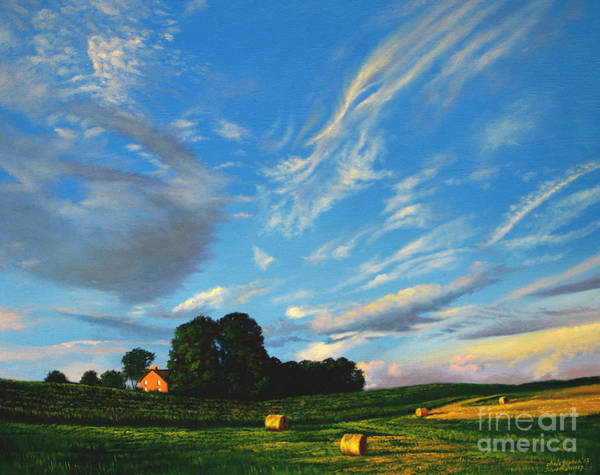 Painting - Hay Rolls On The Farm Series One In Westmoreland County Pennsylvania by Christopher Shellhammer