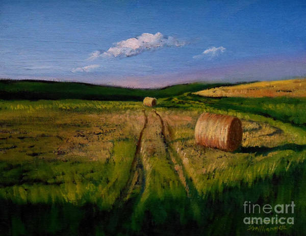 Painting - Hay Rolls On The Field by Christopher Shellhammer