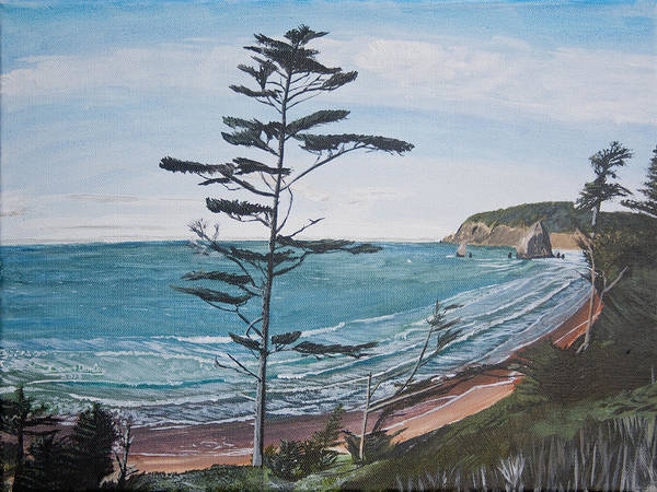 Cannon Beach Painting - Hay Stack Rock From The South On The Oregon Coast by Ian Donley