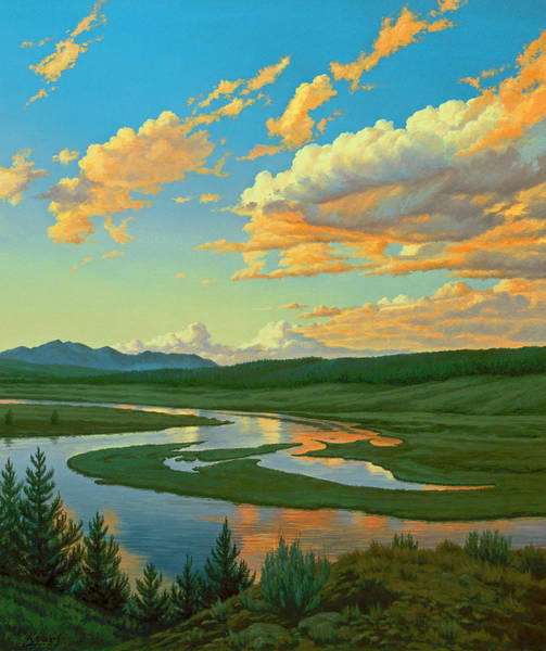 Wall Art - Painting - Hayden Valley Sunset by Paul Krapf