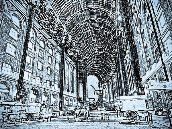 Wall Art - Digital Art - Hays Galleria London Sketch by David Pyatt