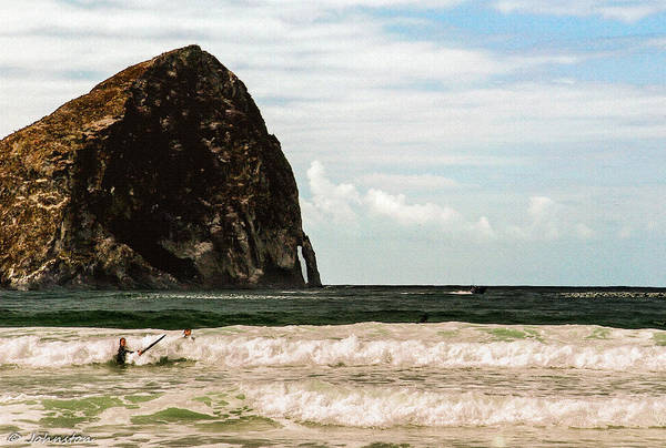 Photograph - Haystack  Pacific City Oregon  Surfers by Bob and Nadine Johnston