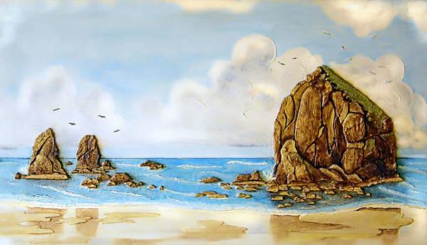 Oregon Coast Mixed Media - Haystack Relief by Wendy McKennon