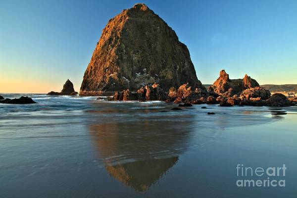 Photograph - Haystack Rock Reflection by Adam Jewell