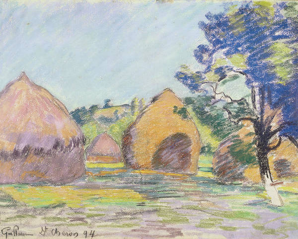 Impressionistic Landscape Drawing - Haystacks At Saint Cheron by Jean Baptiste Armand Guillaumin