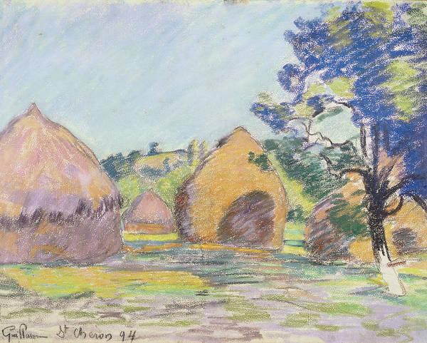 Impressionistic Drawing - Haystacks At Saint Cheron by Jean Baptiste Armand Guillaumin