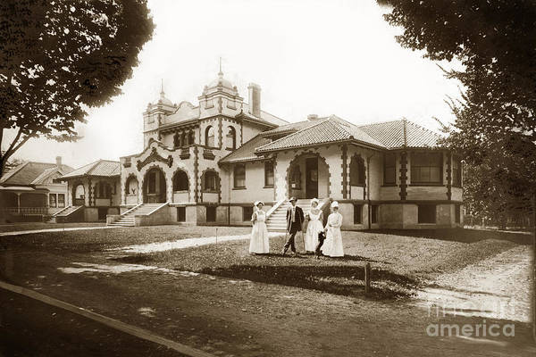 Photograph - Hazel Hawkins Hospital Monterey Street Hollister California Circa 1907 by California Views Archives Mr Pat Hathaway Archives