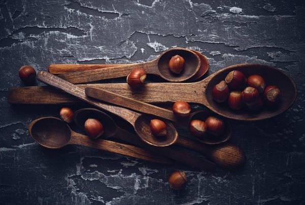 Vegan Wall Art - Photograph - Hazelnuts by Aleksandrova Karina