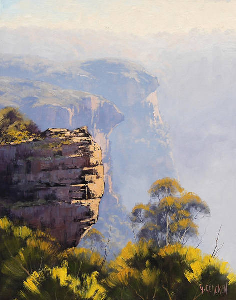 Three Sisters Wall Art - Painting - Hazy Cliff-scape Katoomba by Graham Gercken