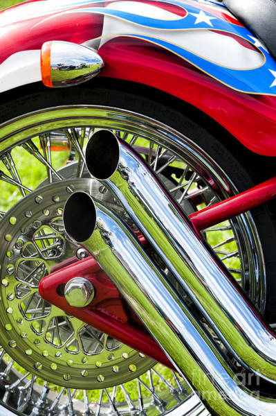 Spokes Photograph - Hd Custom Drag Pipes by Tim Gainey