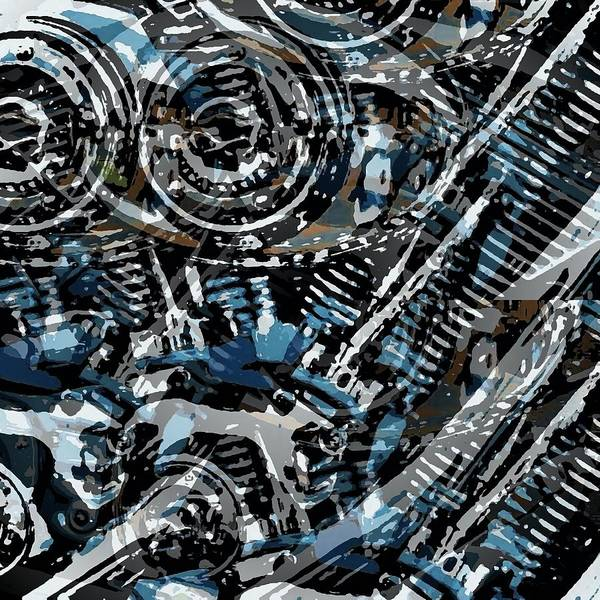 Wall Art - Digital Art - Abstract V-twin by David Manlove