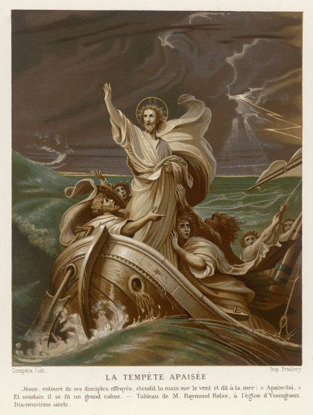 Wall Art - Drawing - He Calms A Storm On The  Sea Of Galilee by Mary Evans Picture Library