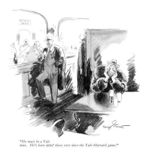 Alcoholism Drawing - He Must Be A Yale Man. He's Been Sittin' by Kemp Starrett
