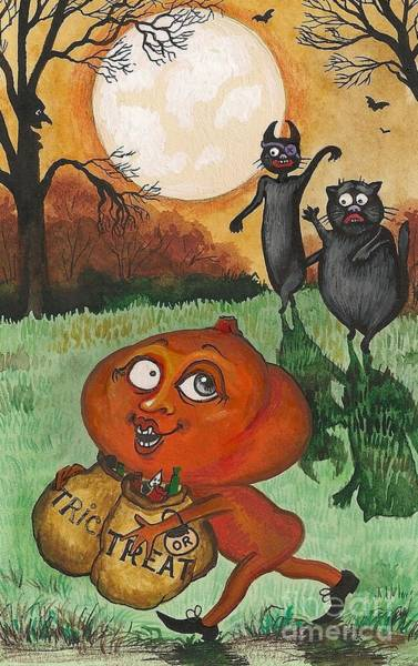 Pumpkinhead Wall Art - Painting - He Stole Our Candy by Margaryta Yermolayeva