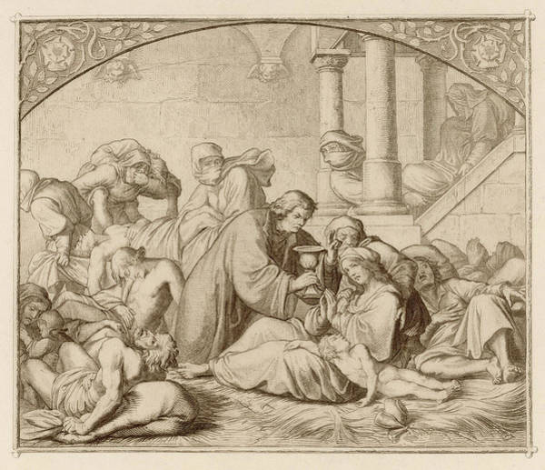 Wall Art - Drawing - He Tends Victims Of The Plague by Mary Evans Picture Library