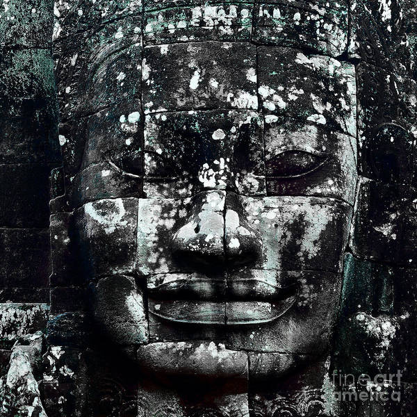 Angkor Wall Art - Photograph - Head At Angkor Thom by Julian Cook