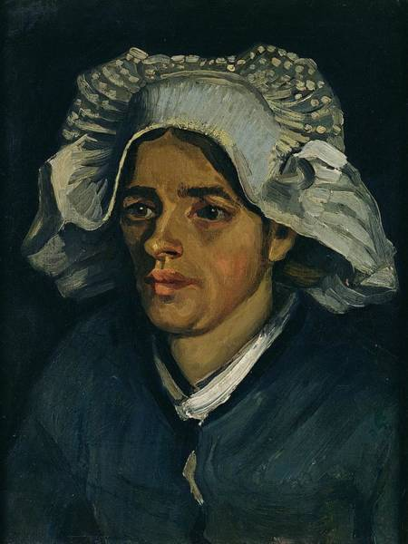 Blue Bonnets Painting - Head Of A Peasant Woman, 1885 Oil On Canvas Laid On Millboard by Vincent van Gogh