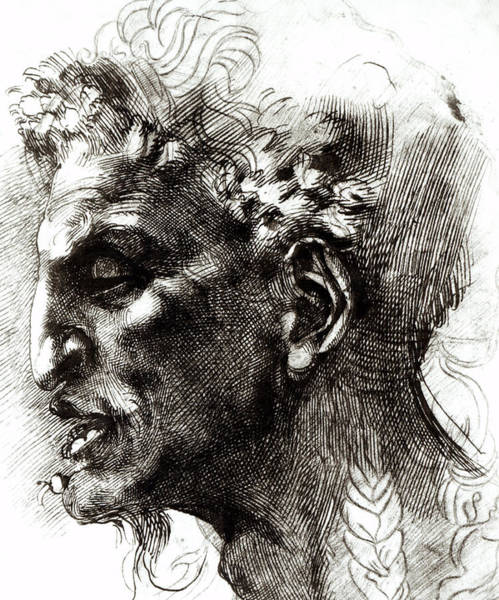 Michelangelo Wall Art - Drawing - Head Of A Satyr  by Michelangelo