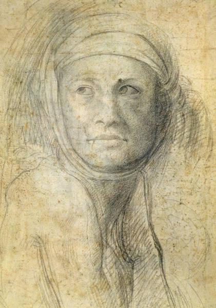 Buonarroti Wall Art - Drawing - Head Of A Woman by Michelangelo Buonarroti