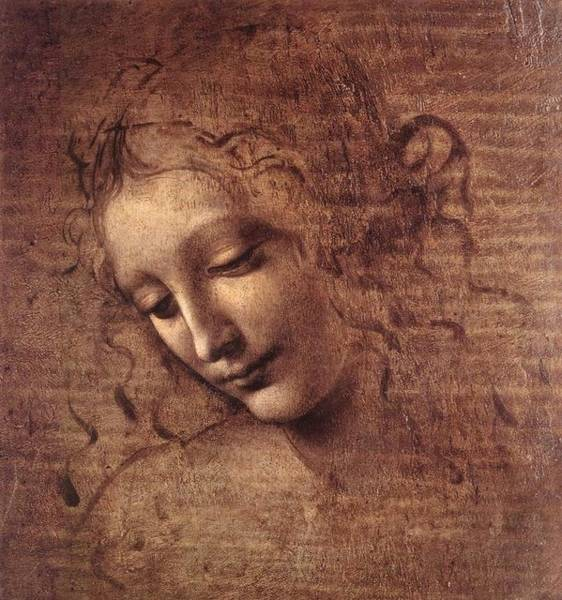 Galleria Painting - Head Of A Young Woman With Tousled Hair by Leonardo da Vinci