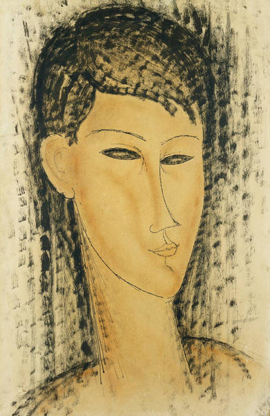Eyeliner Wall Art - Painting - Head Of A Young Women by Amedeo Modigliani