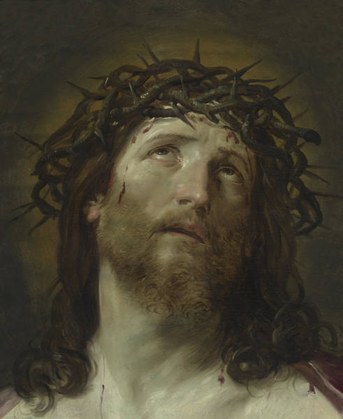 Sacred Heart Wall Art - Painting - Head Of Christ Crowned With Thorns by Guido Reni