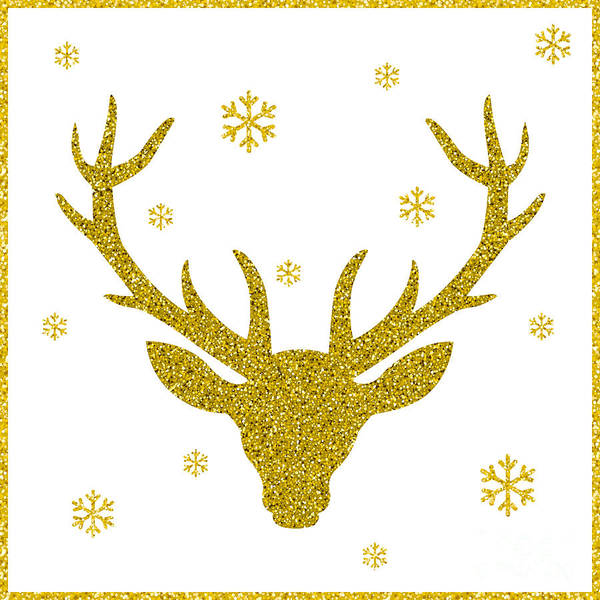 Reindeer Wall Art - Digital Art - Head Of Deer With Big Horns. Trendy by Farferros