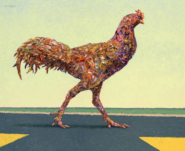 Wall Art - Painting - Head-on Chicken by James W Johnson