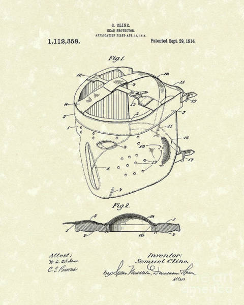 Wall Art - Drawing - Head Protector 1914 Patent Art by Prior Art Design